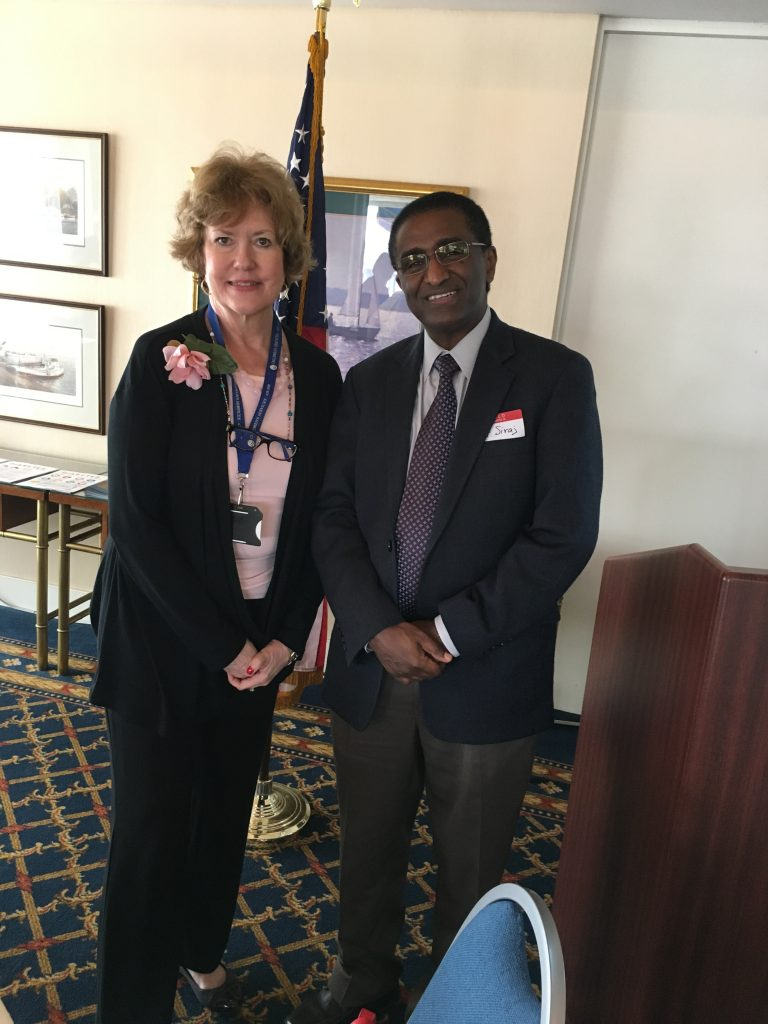 Peggy McPhillips, President Norfolk Cosmopolitan Club & Elias Siraj, MD, EVMS